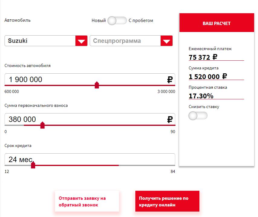 Условия программы автокредитования в Русфинанс Банк